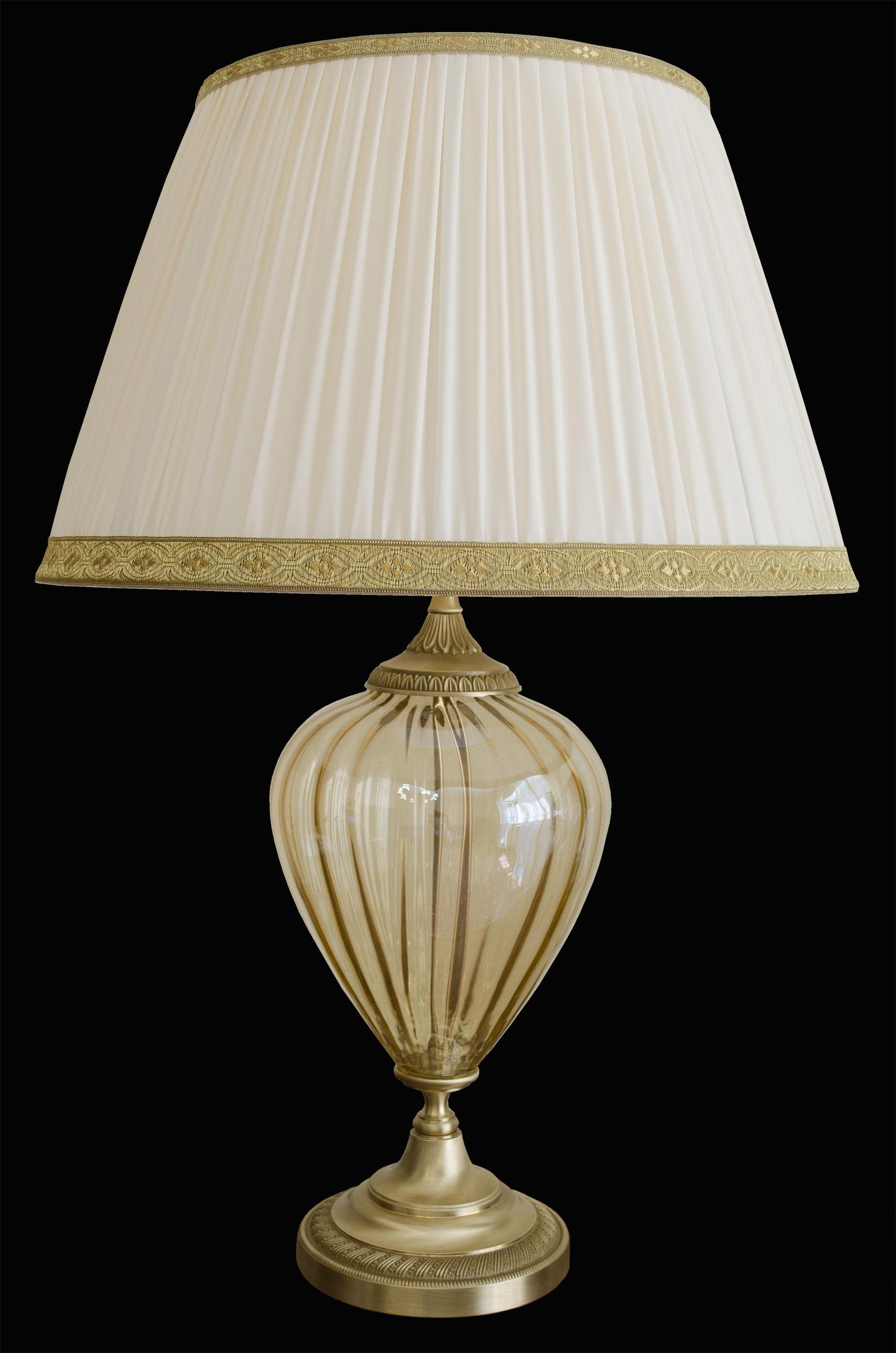 Lampada da tavolo classica vetro Murano ambra e ottone con paralume seta plissé